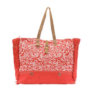 Canvas Summarize Weekender Bag in Orange Floral Print-Atomic 79
