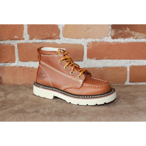 Children's Jackson Moc Toe Lace Up Boot in Tan-Atomic 79