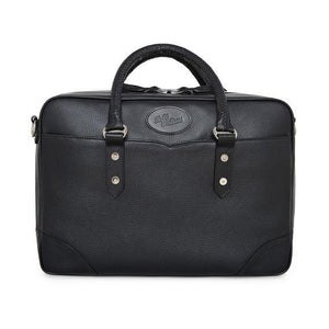 City Briefcase W/Milled and Bridle Leather in Black-Atomic 79