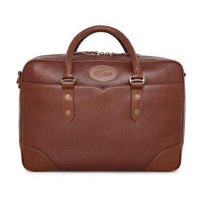 City Briefcase W/Milled and Bridle Leather in Whiskey-Atomic 79