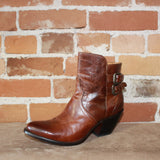 Ladies Short Zip Up Bootie In Cognac Cowhide W/Double Buckle
