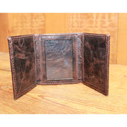 Distressed Leather Trifold Wallet in Chocolate-Atomic 79