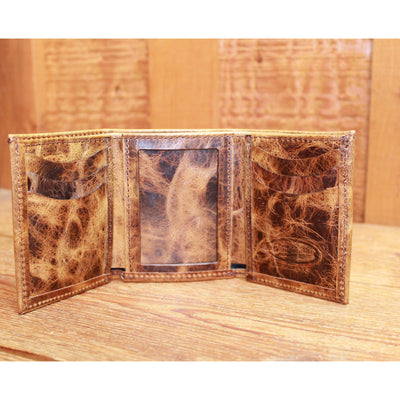 Distressed Leather Trifold Wallet in Tan-Atomic 79