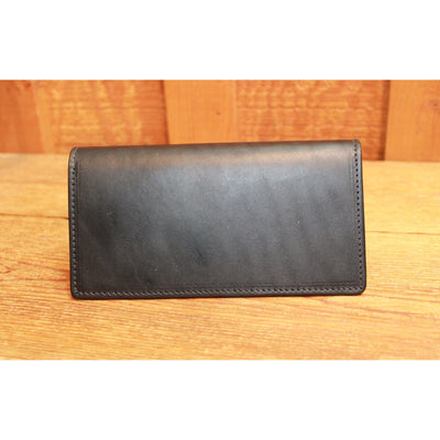 English Bridle Leather Checkbook Cover in Black-Atomic 79