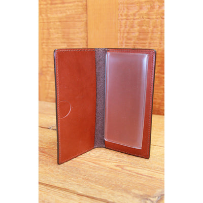 English Bridle Leather Checkbook Cover in Chestnut-Atomic 79