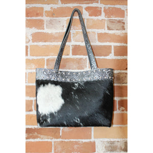 Extra Large Leather and Hair On Tote in Black and Silver-Atomic 79