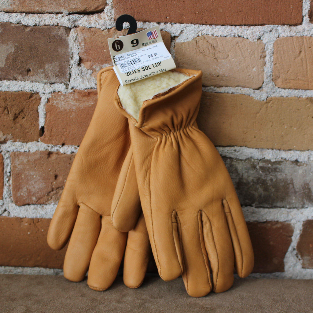 Fleece Lined Deerskin Glove In Saddle Brown W/elastic Back-Atomic 79