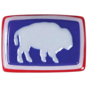 Hand Blown Glass Bison Buckle in Red White and Blue-Atomic 79