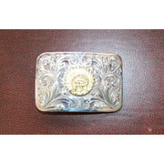 Hand Engraved Rectangular Trophy Style Buckle Accented W/Raised Native American Figure-Atomic 79