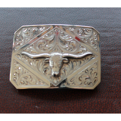 Hand Engraved Rectangular Trophy Style Buckle W/Raised Silver Longhorn-Atomic 79