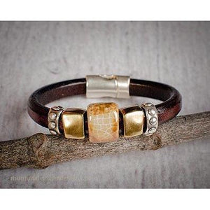 Hand Made Brown Leather Bracelet W/Ceramic Silver and Brass Plated Metal Beads-Atomic 79