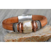 Hand Made Leather Bracelet in Tan And Cream W/Copper and Silver Plated Beads-Atomic 79