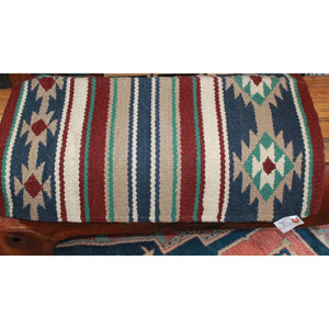 Heavy Primo Wool Saddle Blanket In Blue Tan And Rust-Atomic 79
