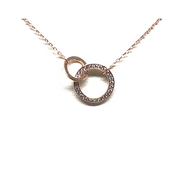 Interlocking Pave Circle Necklace W/Crystals in Rose Gold Vermeil Fill-Atomic 79