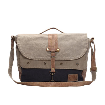 Khaki Canvas Flapover Messenger Bag W/Leather Accents-Atomic 79