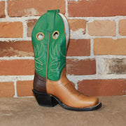 "Kid's 8"" Leather Boot W/Cognac Vamp and Green Machine Top-Atomic 79"