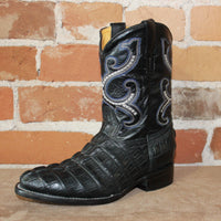 "Kid's 9"" Leather Embossed Gator Boot in Black-Atomic 79"