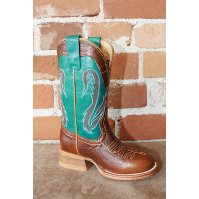 Kids Blue Leather Boots W/Brown Vamp-Atomic 79