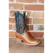 Kids Navy Leather Boots W/Brown Vamps-Atomic 79