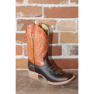 Kids Orange Leather Boots W/brown Vamp-Atomic 79