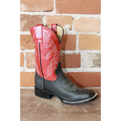 Kids Red Leather Boots W/black Vamp-Atomic 79
