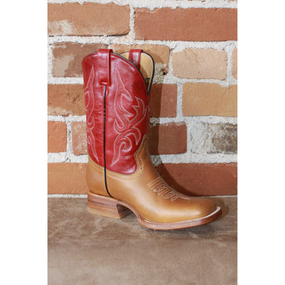 Kids Red Leather Boots W/brown Vamp-Atomic 79