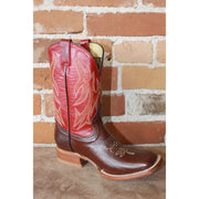 Kids Red Leather Boots W/Dark Brown Vamp-Atomic 79