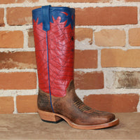 Kid's Tall Leather Boot in Blue W/Red Glove Spiderweb Stovepipe Top-Atomic 79