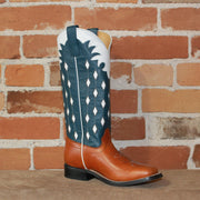 Kid's Tall Top Goat Leather Boot in Navy Blue W/White Glove Inlay Top-Atomic 79