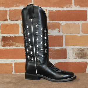 Kid's Tall Top Leather Boot in Black Horsebutt W/White Glove Diamond Inlay-Atomic 79
