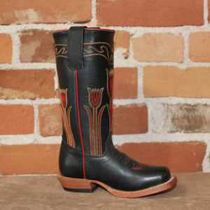 Kid's Tall Top Leather Boot in Black W/Tulip Stitched Tops-Atomic 79