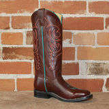 Kid's Tall Top Leather Boot in Chocolate W/Turquoise Piping-Atomic 79