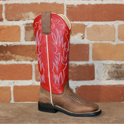 Kid's Tall TristanTop Leather Boot in Red W/Mad Dog Bone Vamp-Atomic 79