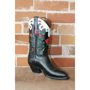 "Ladies 11"" Black Leather Boot W/Inlayed Roses-Atomic 79"