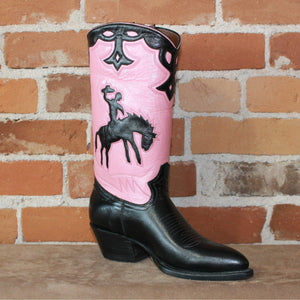 "Ladies 11"" Boot W/Pink Uppers And Black Inlayed Bucking Horse-Atomic 79"
