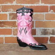 Ladies 11' Leather Boot In Pink W/Black And Raspberry Inlay-Atomic 79