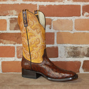 "Ladies 11"" Leather Boot W/Full Quill Ostrich Vamp and Butter Volcano Top-Atomic 79"