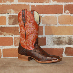 "Ladies 11"" Leather Boot W/Full Quill Ostrich Vamp and Orange Volcano Top-Atomic 79"