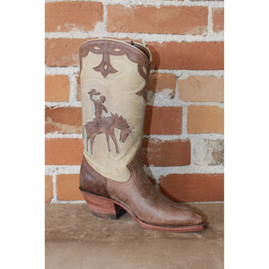 "Ladies 11"" Leather Boot W/Tan Uppers And Brown Inlayed Bucking Horse-Atomic 79"