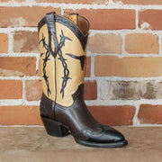 "Ladies 11"" Leather Boot W/Tan Uppers, & Steerhead/Barbed Wire Design-Atomic 79"