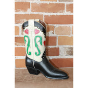 "Ladies 11"" Leather Boot W/White Uppers And Inlayed Hearts-Atomic 79"