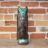 "Ladies 11"" Leather Boots in Chocolate W/Powder Blue Toe Cap and Collar W/Buckstich and Tassel-Atomic 79"