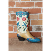 "Ladies 11"" Leather Boots W/Tan And Blue Inlayed Flowers-Atomic 79"