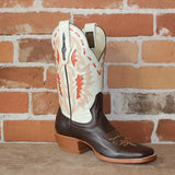 "Ladies 11"" Short Leather Boot in Bone W/Brown Vamp and Orange Inlay and Buckstitch-Atomic 79"