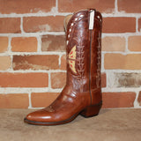"Ladies 12"" Classic Leather Boot in Whiskey W/Inlayed Butterfly-Atomic 79"
