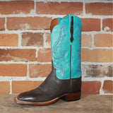 "Ladies 12"" Leather Boot ""Harlow"" Design W/Emerald Blue Top and Scalloped Topline-Atomic 79"