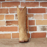 "Ladies 12""Tall Suede Boot in Tan W/Feather Fringe and Braided Pull Straps-Atomic 79"