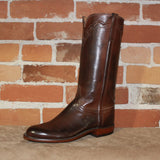 "Ladies 13"" Classic Leather Roper Boot in Burnished Whiskey-Atomic 79"