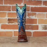 "Ladies 13"" Full Quill Ostrich Boot W/ Scalloped Collar Decorative Inlay and Navy Embroidered Top-Atomic 79"