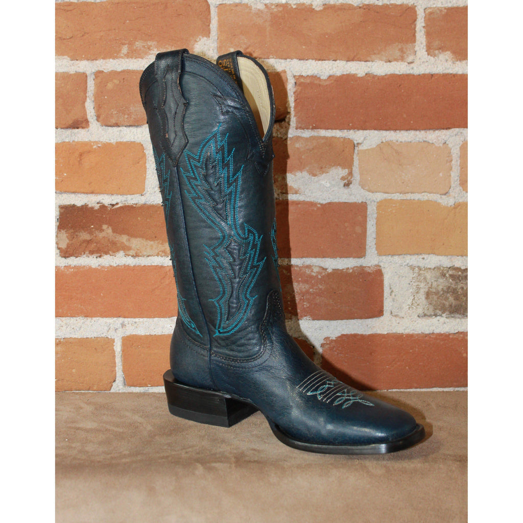 "Ladies 13"" Leather Boot in Blue Calf-Atomic 79"